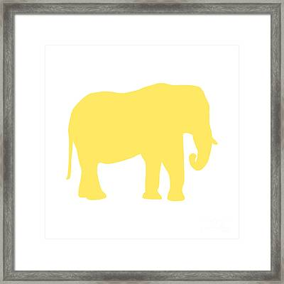 Elephant In Yellow And White Framed Print