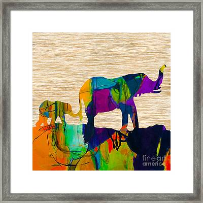 Elephant Journey Parent And Child Framed Print by Marvin Blaine