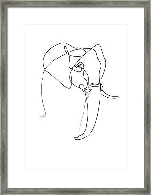 Elephant Line Framed Print by Quibe