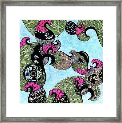 Elephant Lotus And Bird Design Framed Print by Mukta Gupta