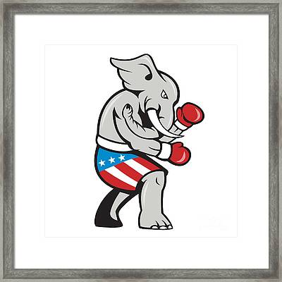 Elephant Mascot Boxer Boxing Side Cartoon Framed Print