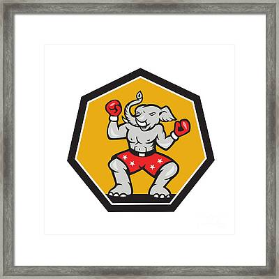 Elephant Mascot Boxer Cartoon Framed Print
