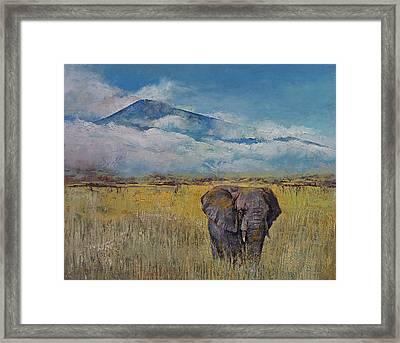 Elephant Savanna Framed Print by Michael Creese