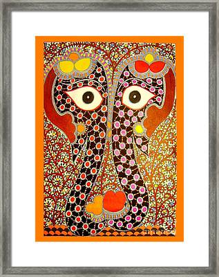 Elephant Pair-madhubani Paintings Framed Print