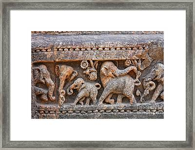 Elephant Sculptures At The Sun Temple At Konark In India Framed Print by Robert Preston
