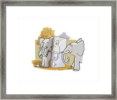 Elephant Self-awareness, Artwork Framed Print