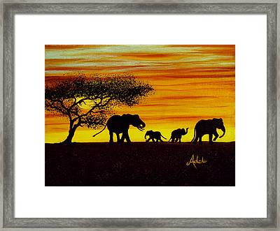 Elephant Silhouette Framed Print by Adele Moscaritolo