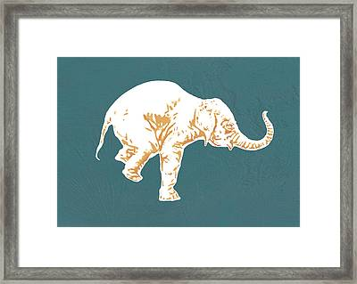Elephant - Stylised Drawing Art Poster Framed Print by Kim Wang