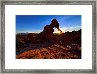 Elephant Sunrise Framed Print by Chad Dutson