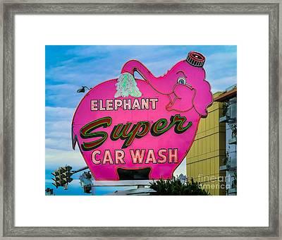 Elephant Super Car Wash Framed Print by Inge Johnsson
