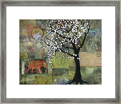 Elephant Under A Tree Framed Print by Blenda Studio