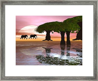 Framed Print featuring the digital art Elephant Walk by Jacqueline Lloyd