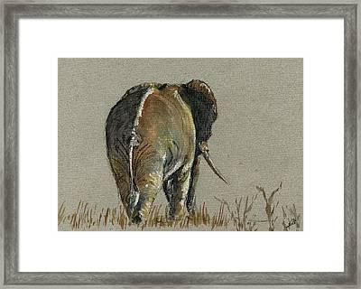 Elephant Walking Framed Print by Juan  Bosco