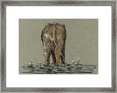 Elephant With Water Lilies Framed Print