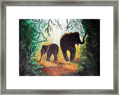 Framed Print featuring the painting Elephants At Night by Saranya Haridasan