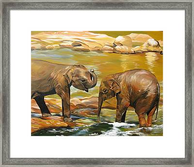Elephants- Different Dimensions Framed Print