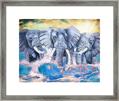 Elephants In The Tide Framed Print by Tara Richelle