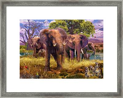 Elephants Framed Print by Jan Patrik Krasny
