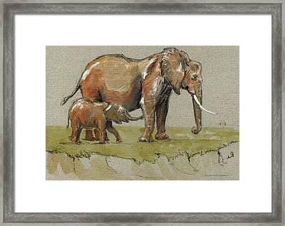 Elephants Framed Print by Juan  Bosco