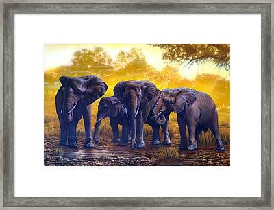 Elephants Framed Print by Larry Taugher