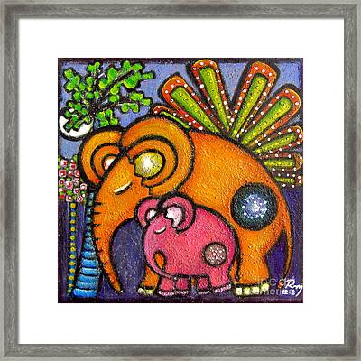 Elephant's Lullaby Mother And Baby Framed Print