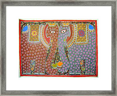 Elephants Framed Print