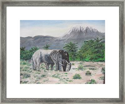 Elephants Strolling With View Of Mt. Kilimanjaro  Framed Print