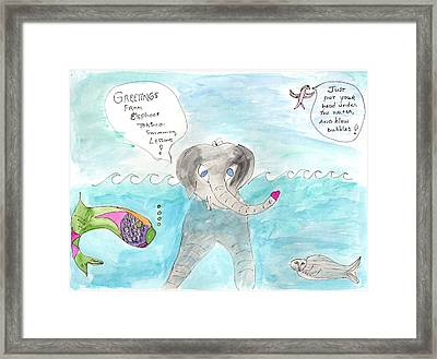 Framed Print featuring the painting Elephoot Swim Lesson by Helen Holden-Gladsky