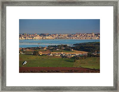 Elevated City And Countryside View Framed Print