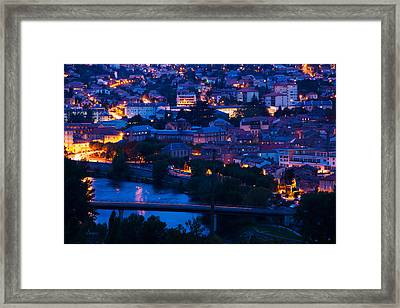 Elevated Town View At Dawn, Millau Framed Print by Panoramic Images