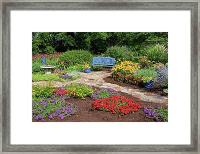 Elevated View Of A Flower Garden Framed Print