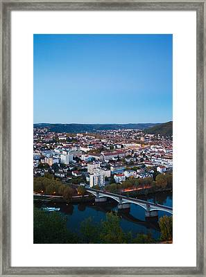 Elevated View Of A Town At Dusk Framed Print by Panoramic Images