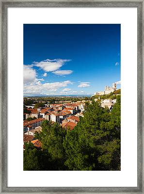Elevated View Of A Town With Cathedrale Framed Print