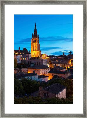 Elevated View Of A Town With Eglise Framed Print