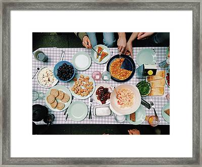 Elevated View Of A Variety Of Meals Framed Print by Kirsty Lee / Eyeem