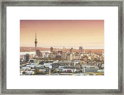 Elevated View Of Auckland City And Cbd Framed Print by Matteo Colombo