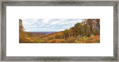 Elevated View Of Autumn Trees, Brown Framed Print