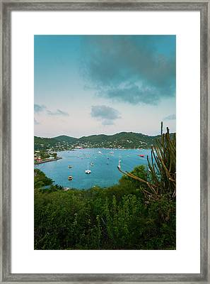 Elevated View Of Boats In Caribbean Framed Print