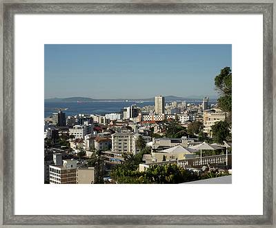 Elevated View Of Buildings Framed Print