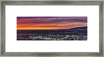 Elevated View Of City At Dusk, Los Framed Print
