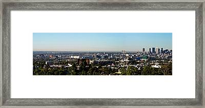 Elevated View Of City, Los Angeles Framed Print