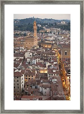 Elevated View Of Florence Framed Print