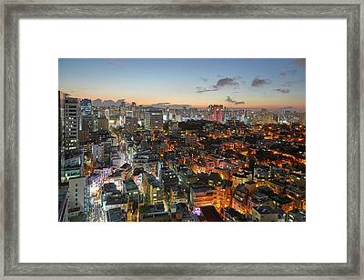 Elevated View Of Gangnam Illuminated At Framed Print by Allan Baxter