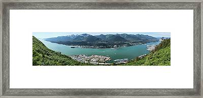 Elevated View Of Harbor With Mount Framed Print by Panoramic Images