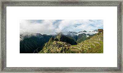Elevated View Of Inca Ruins, Machu Framed Print
