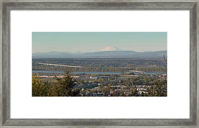 Elevated View Of Interstate 205 Bridge Framed Print by Panoramic Images