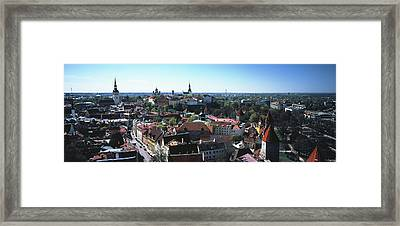 Elevated View Of Old Town, Tallinn Framed Print