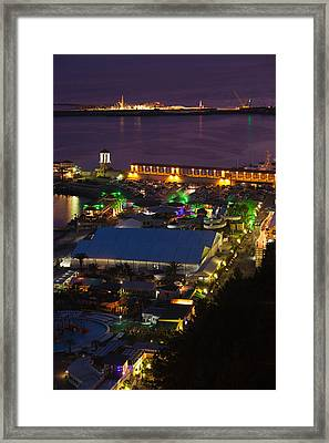Elevated View Of Port At Sunset Framed Print by Panoramic Images
