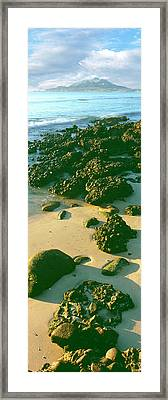 Elevated View Of Rocks On The Beach Framed Print by Panoramic Images
