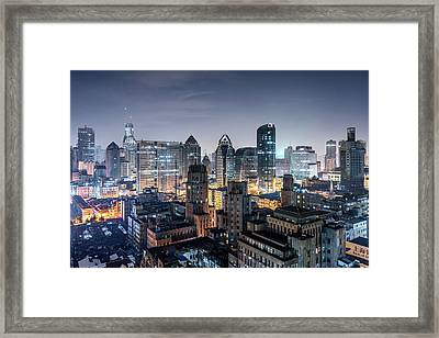 Elevated View Of Shanghai Skyline At Framed Print by Yongyuan Dai